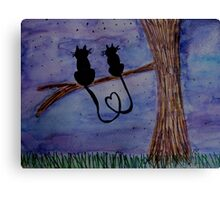Cats in Love Gazing at the Night Stars Canvas Print