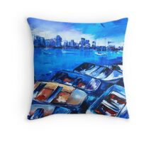 Against the backdrop of the city Throw Pillow