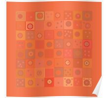Orange Squares and Dots Poster