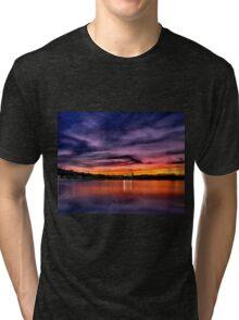 Sun dusk over Boston College  Tri-blend T-Shirt