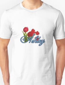 Ashley With Red Tulips and Cobalt Blue Script Unisex T-Shirt
