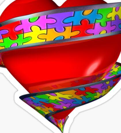 Puzzle ribbon heart Sticker