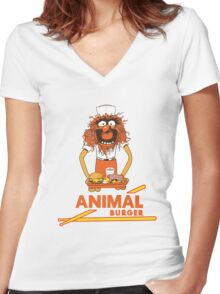 Animal Burger Women's Fitted V-Neck T-Shirt
