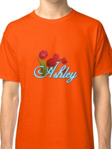 Ashley With Red Tulips and Neon Blue Script Classic T-Shirt