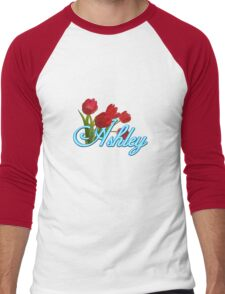 Ashley With Red Tulips and Neon Blue Script Men's Baseball ¾ T-Shirt