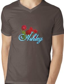 Ashley With Red Tulips and Neon Blue Script Mens V-Neck T-Shirt