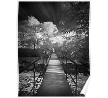 Small bridge infrared bw Poster