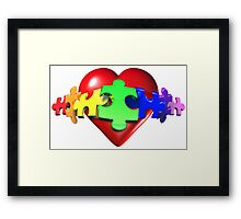 3D Heart Puzzle Framed Print