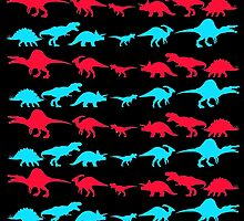 Dinosaur World Red and Blue by Jack Rinderknecht