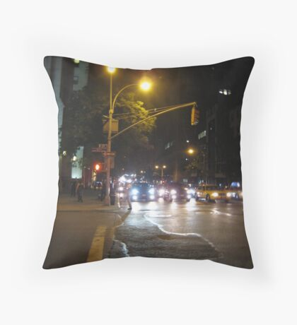 Looking Uptown at night Throw Pillow