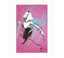 Spider-Gwen with Pink Background Art Print