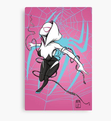 Spider-Gwen with Pink Background Canvas Print