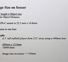 Image Size on your Sensor by Otto Danby II