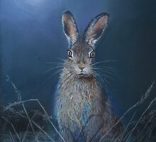 Hare in moonlight by Graham Ettridge