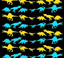Dinosaur World Blue and Yellow by Jack Rinderknecht