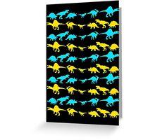 Dinosaur World Blue and Yellow Greeting Card