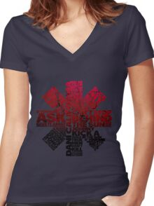 Red Hot Chilli Peppers Typography  Women's Fitted V-Neck T-Shirt