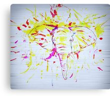 White Abstract Elephant Splash Canvas Print