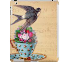Vintage Tea Cup, Bird, and Tea Roses iPad Case/Skin