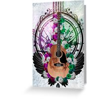 Acoustic Guitar framed amongst flowers, paint drips and wings  Greeting Card