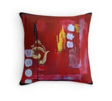 Stencil Painting in Red Throw Pillow