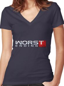 Worst Ending Women's Fitted V-Neck T-Shirt
