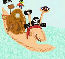 Snail Pirate Magrid And Silly Sally Parrot by pinkyjainpan
