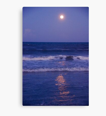 Full Moon over the Ocean Canvas Print