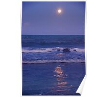 Full Moon over the Ocean Poster