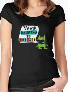 Viewer Discretion is Advised - on black Women's Fitted Scoop T-Shirt