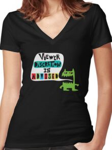 Viewer Discretion is Advised - on black Women's Fitted V-Neck T-Shirt