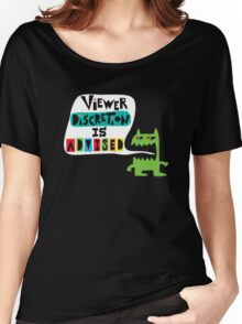 Viewer Discretion is Advised - on black Women's Relaxed Fit T-Shirt