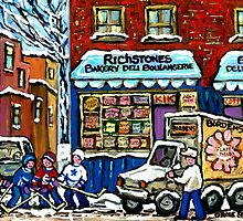 VINTAGE MONTREAL BAKERY RICHSTONE BAKERY AND HOCKEY by Carole  Spandau