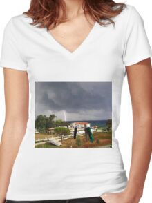 Its a Cracker Even with Cloth Pegs -  Zante Island Greece Women's Fitted V-Neck T-Shirt