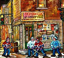 CANADIAN PAINTING DEPANNEUR IN WINTER WITH HOCKEY by Carole  Spandau