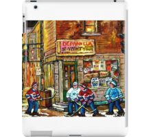 CANADIAN PAINTING DEPANNEUR IN WINTER WITH HOCKEY iPad Case/Skin