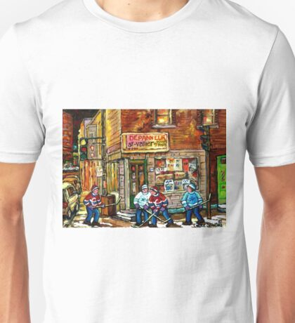 CANADIAN PAINTING DEPANNEUR IN WINTER WITH HOCKEY Unisex T-Shirt