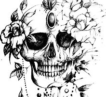 Skull and Roses Tattoo Design by ill-lust-trativ