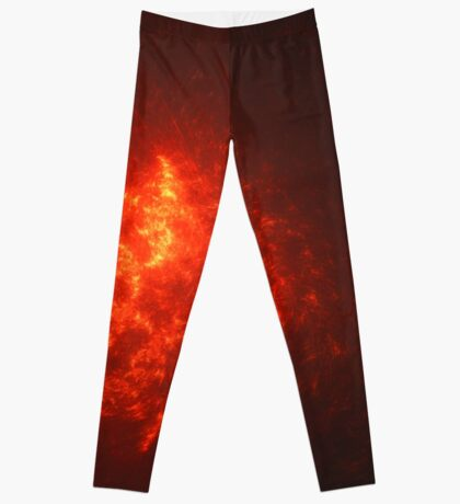 A Great Red Star Shooting A Burst of Solar Energy Towards The Experimental Planet   Fractal Starscape Leggings