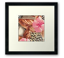 Cool brown pink black floral animal print Framed Print