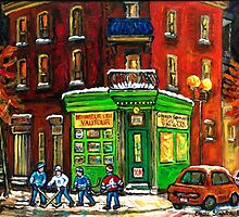 MONTREAL DEPANNEUR AT NIGHT WITH HOCKEY CANADIAN ART by Carole  Spandau