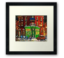 MONTREAL DEPANNEUR AT NIGHT WITH HOCKEY CANADIAN ART Framed Print