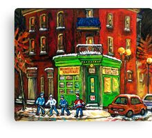 MONTREAL DEPANNEUR AT NIGHT WITH HOCKEY CANADIAN ART Canvas Print