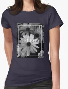 b&w flower with the 1975 llogo Womens Fitted T-Shirt
