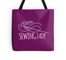 Crazy Sewing Lady Tote Bag