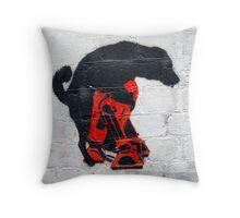 The Black Dog Verses R2D2 Throw Pillow