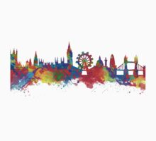 Watercolor art print of the skyline of London Kids Clothes