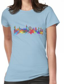 Watercolor art print of the skyline of London Womens Fitted T-Shirt