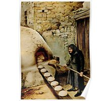 Baking bread - colour drawing Poster