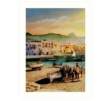 Kyrenia - colour drawing Art Print